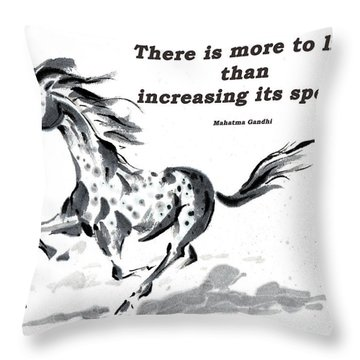 Throw Pillow featuring the painting Escape With Gandhi Quote  by Bill Searle