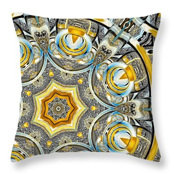 Throw Pillow featuring the digital art Escher Glass Kaleido Abstract #1 by Peter J Sucy