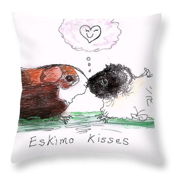 Throw Pillow featuring the drawing Eskimo Kisses by Denise Fulmer