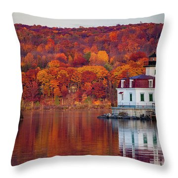 Throw Pillow featuring the photograph Esopus Lighthouse In Late Fall #1 by Jeff Severson