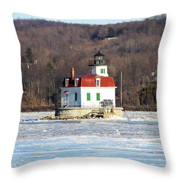 Throw Pillow featuring the photograph Esopus Lighthouse In Winter #2 by Jeff Severson