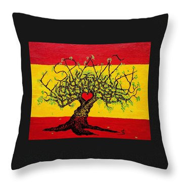 Throw Pillow featuring the drawing Espana Love Tree by Aaron Bombalicki