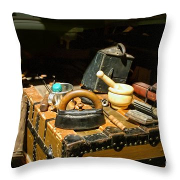 Essentials  From Covered Wagon Throw Pillow by Linda Phelps