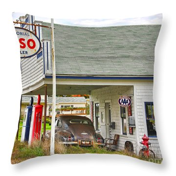 Esso Gas Staion Throw Pillow