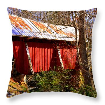 Est. 1909 Campbell's Covered Bridge Throw Pillow