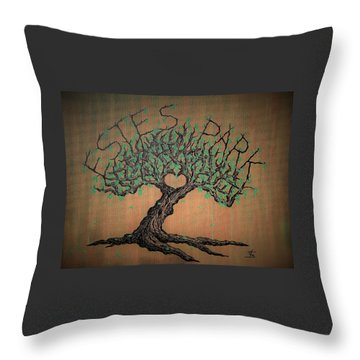 Throw Pillow featuring the drawing Estes Park Love Tree by Aaron Bombalicki
