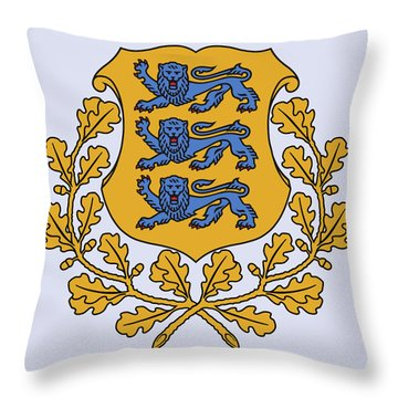 Throw Pillow featuring the drawing Estonia Coat Of Arms by Movie Poster Prints