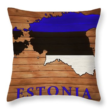 Estonia Rustic Map On Wood Throw Pillow