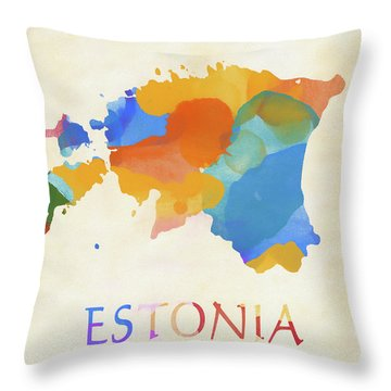 Estonia Watercolor Map Throw Pillow