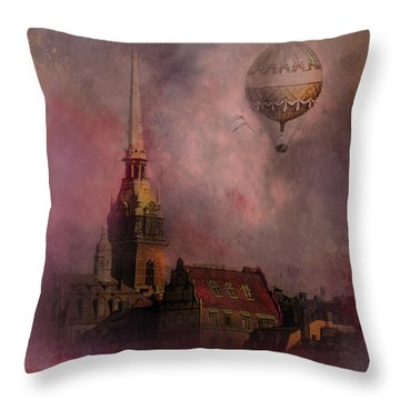 Throw Pillow featuring the digital art Stockholm Church With Flying Balloon by Jeff Burgess