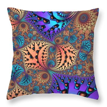Etched Leaves Throw Pillow by John Edwards