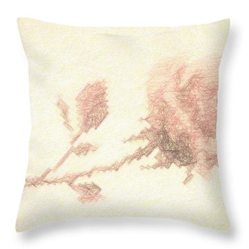 Throw Pillow featuring the photograph Etched Red Rose by Linda Phelps