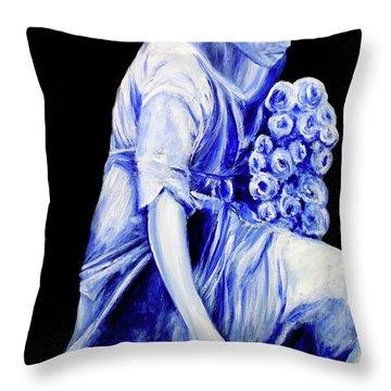 Flower Girl In Blue Throw Pillow