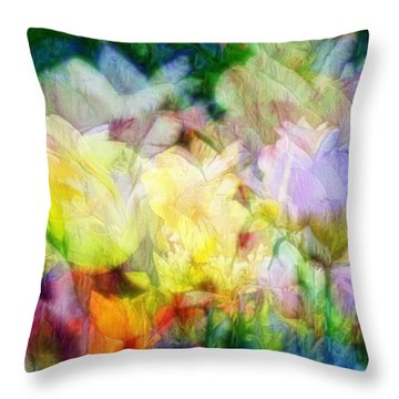 Ethereal Flowers Throw Pillow