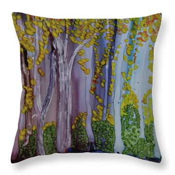 Throw Pillow featuring the painting Ethereal Forest by Suzanne Canner