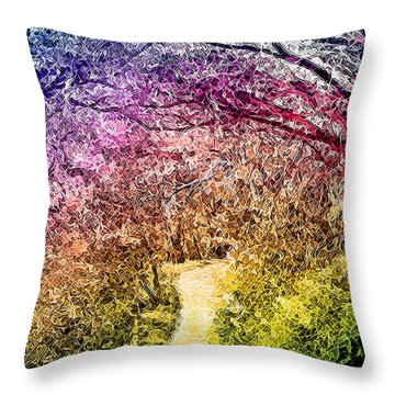 Throw Pillow featuring the digital art Ethereal Garden Pathway - Trail In Santa Monica Mountains by Joel Bruce Wallach