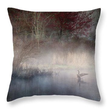 Throw Pillow featuring the photograph Ethereal Goose by Bill Wakeley