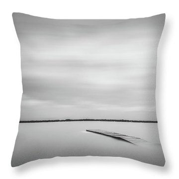 Ethereal Long Exposure Of A Pier In The Lake Throw Pillow