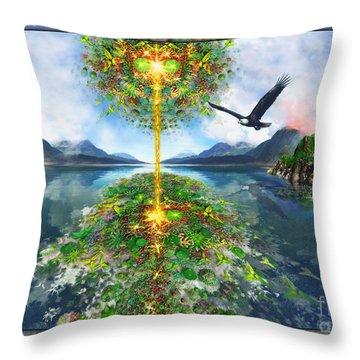 Etheric Lake Throw Pillow