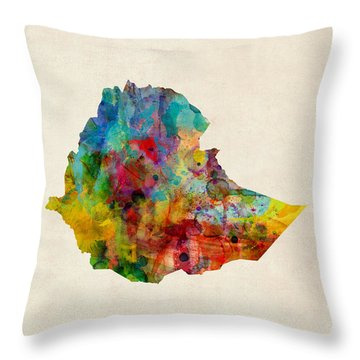 Throw Pillow featuring the digital art Ethiopia Watercolor Map by Michael Tompsett