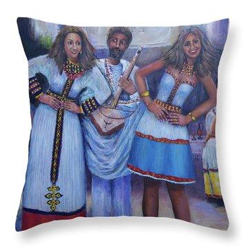 Ethiopian Ladies Shoulder Dancing Throw Pillow