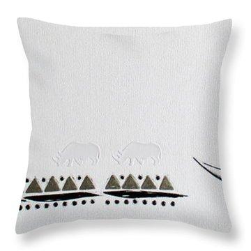 Ethnic Rhino Throw Pillow