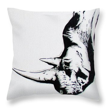 Ethnic Rhino Throw Pillow