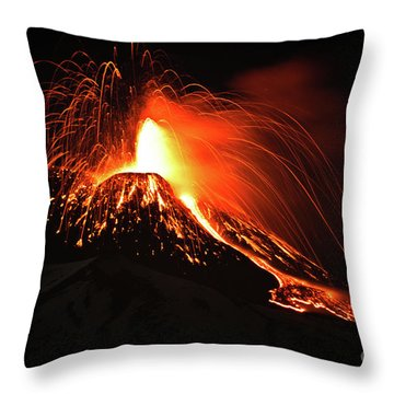Italy, Sicily,etna Throw Pillow