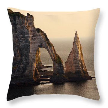 Etretat In Morning Sun Throw Pillow