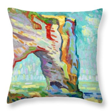 Etretat  Throw Pillow by Pierre Van Dijk