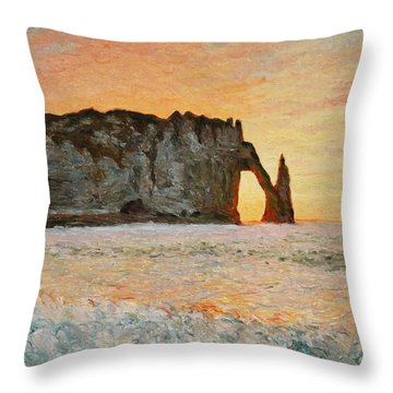 Etretat, Sunset  Throw Pillow by Pierre Van Dijk