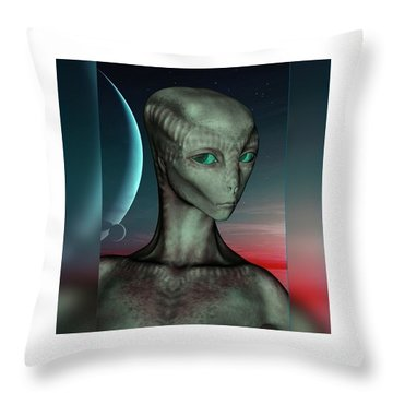 Alien Girl Throw Pillow