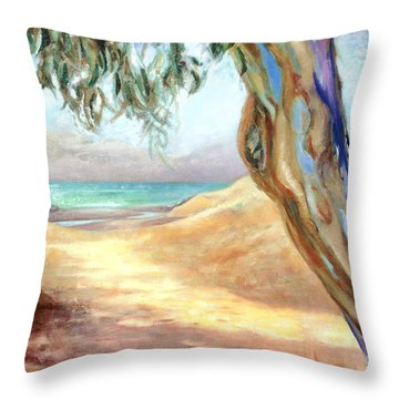Throw Pillow featuring the painting Eucalyptus Beach Trail by Michael Rock