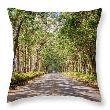 Eucalyptus Tree Tunnel - Kauai Hawaii Throw Pillow by Brian Harig