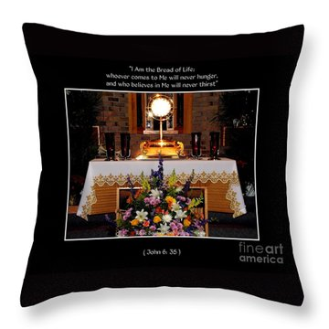 Throw Pillow featuring the photograph Eucharist I Am The Bread Of Life by Rose Santuci-Sofranko