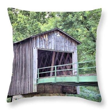 Euharlee Creek Covered Bridge Throw Pillow