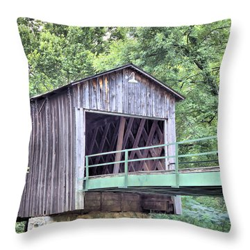 Euharlee Creek Covered Bridge Throw Pillow