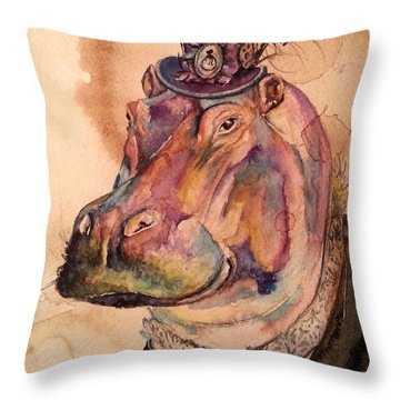 Throw Pillow featuring the painting Eunice Hippo by Christy  Freeman