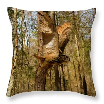 Eurasian Eagle Owl In Flight Throw Pillow