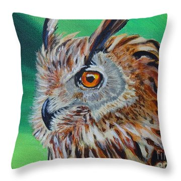 Eurasian Eagle-owl Throw Pillow by Isabel Proffit