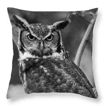 Eurasian Eagle Owl Monochrome Throw Pillow