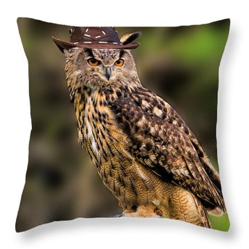 Eurasian Eagle Owl With A Cowboy Hat Throw Pillow