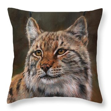 Eurasian Lynx Throw Pillow by David Stribbling
