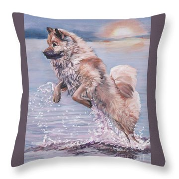 Throw Pillow featuring the painting Eurasier In The Sea by Lee Ann Shepard