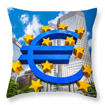 Euro Sign At European Central Bank In Frankfurt, Germany Throw Pillow