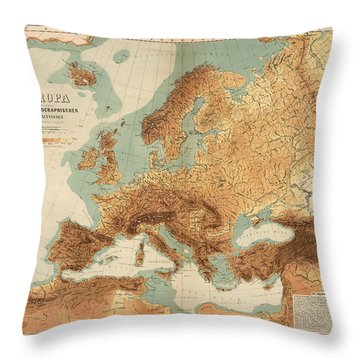 Europe - Geological Map Showing Land And Water Resources - Historical Map - Antique Relief Map Throw Pillow