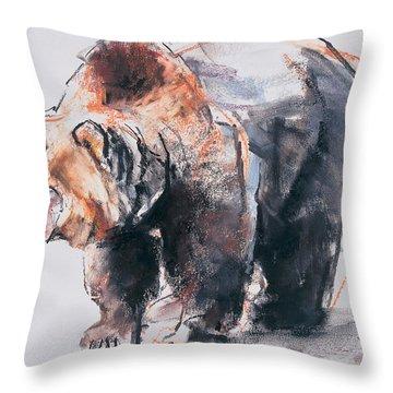 European Brown Bear Throw Pillow