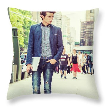 European College Student Studying In New York Throw Pillow