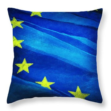 European Flag Throw Pillow by Setsiri Silapasuwanchai