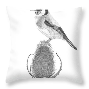 European Goldfinch Throw Pillow by Patricia Hiltz